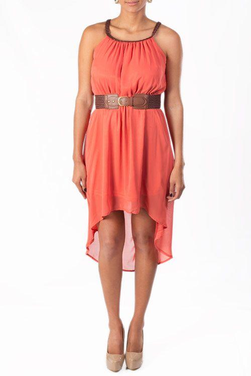 Vestido anaranjado, sin mangas que puedes utilizar en un día especial.