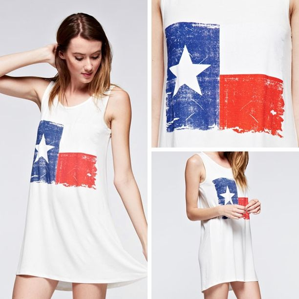 37d7dcc350 NEW ARRIVAL! Vintage Texas Flag Tank Tunic Dress in Ivory - $28 with ...