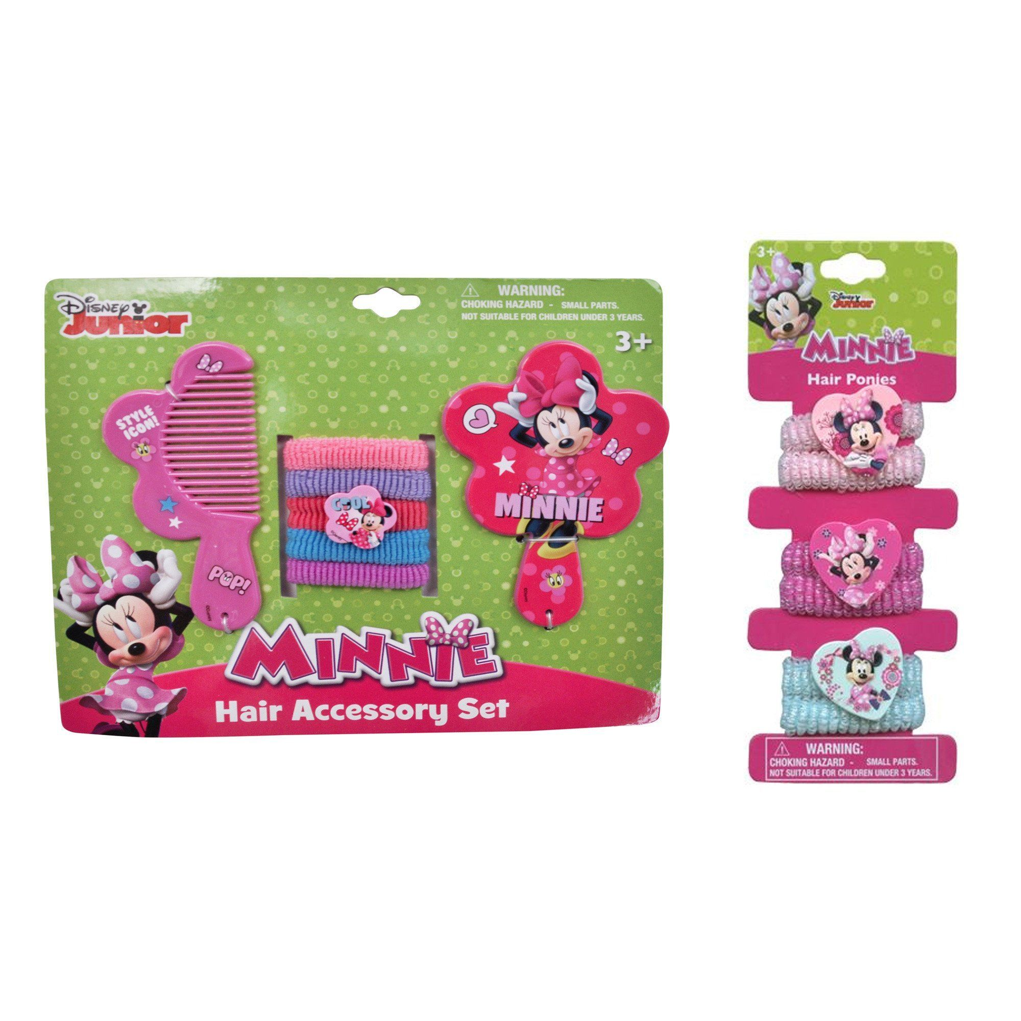 Disney Girls Minnie Mouse Hair Ties, Mirror & Comb 13 Pcs