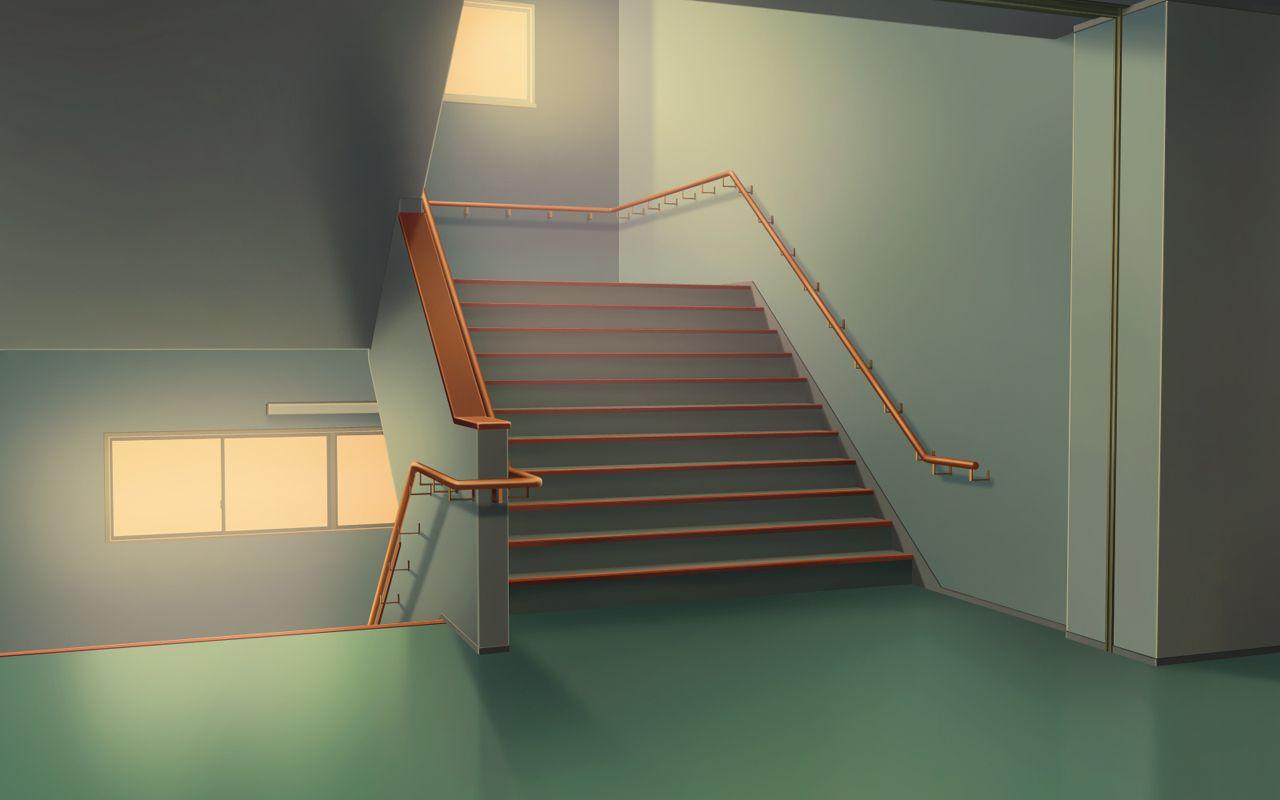 背景素材 学校 階段 2階より上 学校 フリー素材 背景 アニメの風景