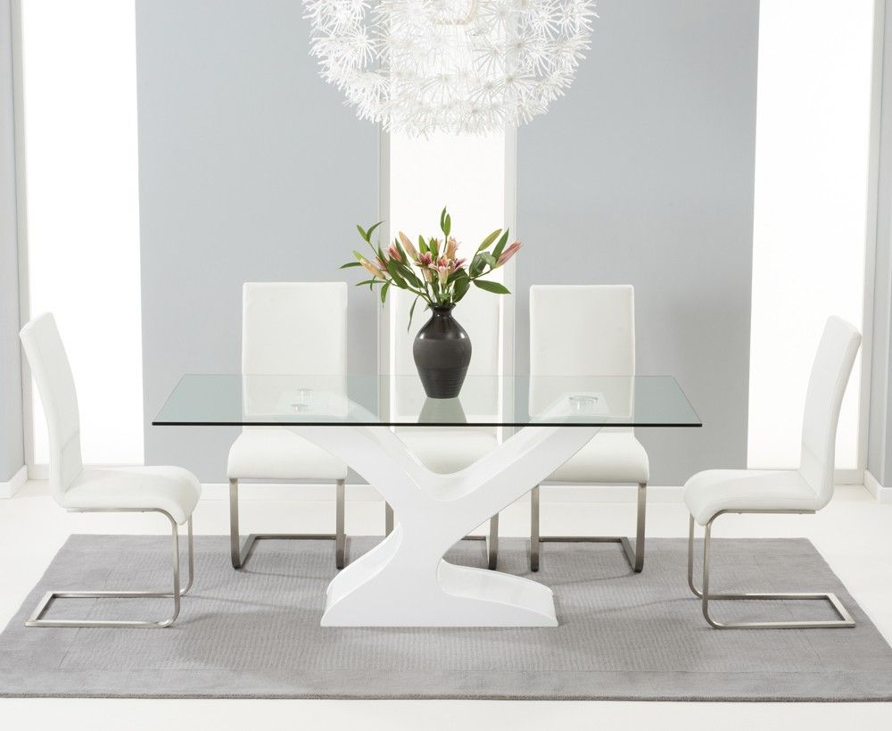 Nevada 180Cm White High Gloss And Glass Dining Table With Malaga Enchanting High Gloss Dining Room Furniture Decorating Inspiration