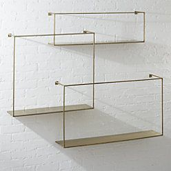 Antiqued Brass Floating Shelves Set of 3 -   22 desk decor shelves