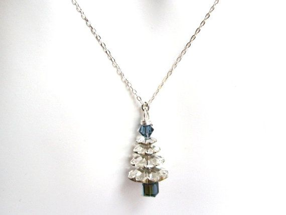 Swarovski Christmas Tree Necklace - Silver and blue - on Etsy