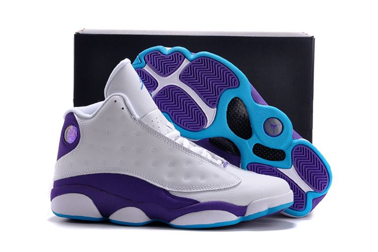 2015 Nike Air Jordan 13 Retro Hornets White Purple Shoes For Sale
