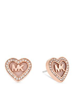 ce1ab467c90401 Michael Kors Rose Gold Rose Gold- Tone MK Heart Pave Crystal Halo Stud  Earrings