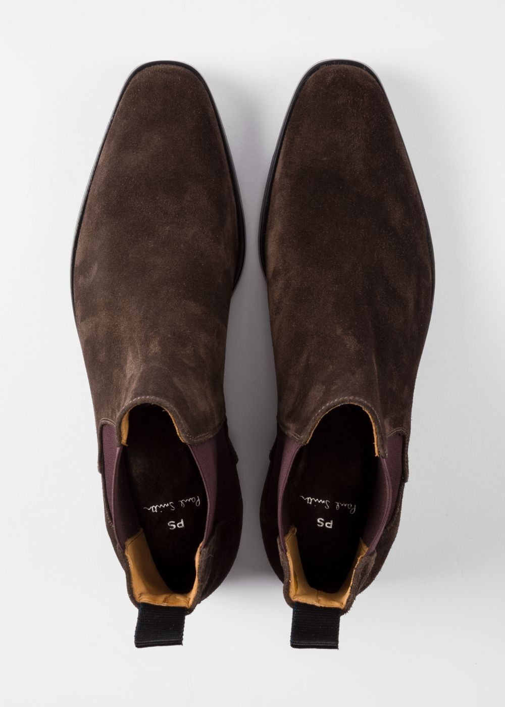 Men S Dark Brown Suede Gerald Chelsea Boots By Paul Smith Paul Smith Couro Liso Calca Masculina Chelsea