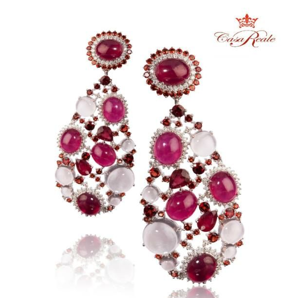 Add a splash of color with these gorgeous CasaReale earrings in 18K white gold, diamonds, rose quartz, #rubies and #red garnets. Experience Royalty in Casa Reale unique designs: www.CasaReale.com