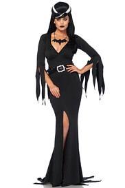 Adult Evil Queen Costume Ladies Vampire Halloween Fancy Dress Outfit Morticia