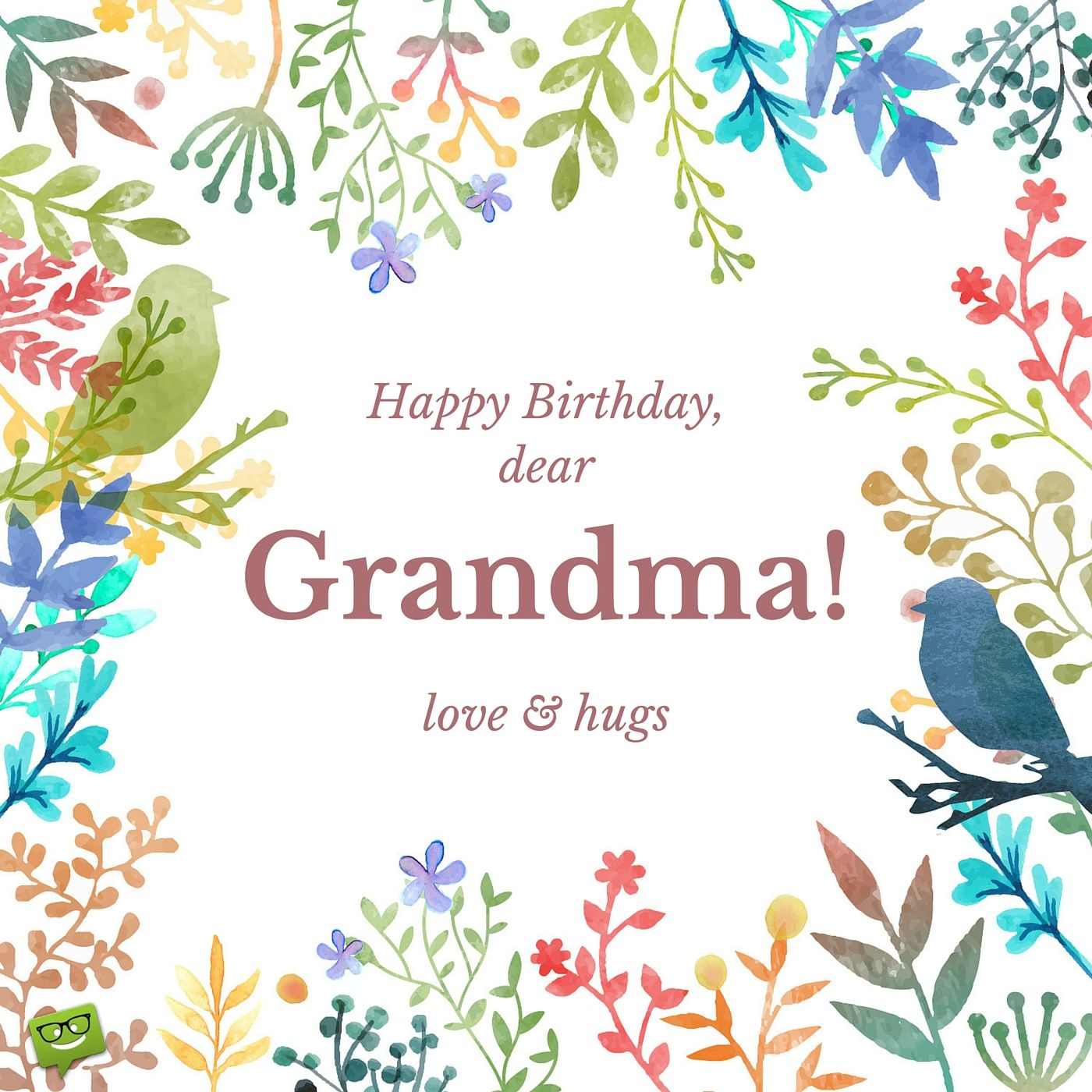 Happy Birthday Dear Grandma Love And Hugs In A Frame Of Hand Drawn