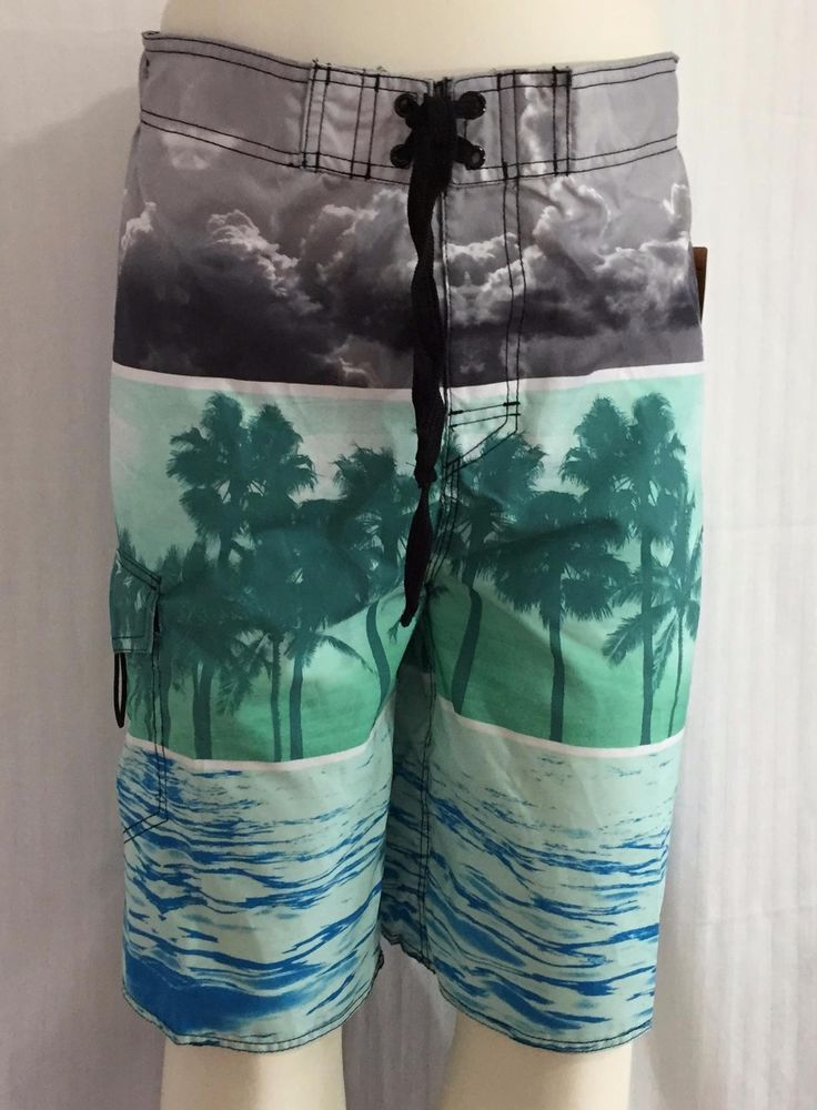 1fcac16509 Caribbean Side Mens Board Shorts Swim Trunks Size LRG Front Pocket Tropical  NWT #CaribbeanSide #BoardShorts