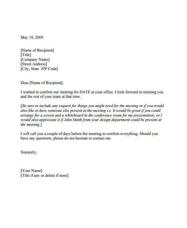 Meeting Appointment Letter Template Free Word Pdf Format