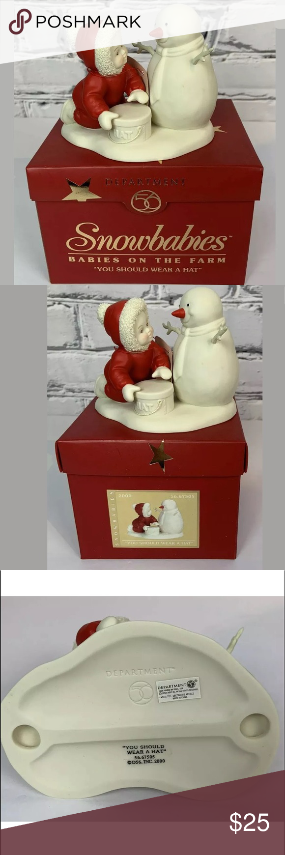 Department 56 Santa Snowbabies 2000 #67505 Department 56 Santa Snowbabies 2000 Collectable #67505  You Should Wear a Hat - Babies on the Farm  Item # 67505  This collectable does come with the box - there is some shelf wear on the box Department 56 Holiday #department56
