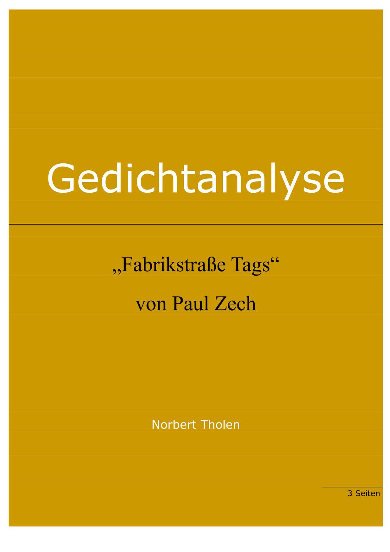 Paul Zech Fabrikstrasse Tags Gedichtanalyse Unterrichtsmaterial Im Fach Deutsch In 2020 Gedicht Analyse Gedichte Didaktik