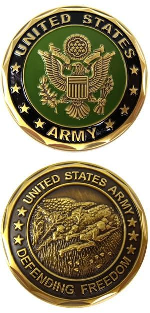 US Army Crest Defending Freedom Army Challenge Coin   Libertarian