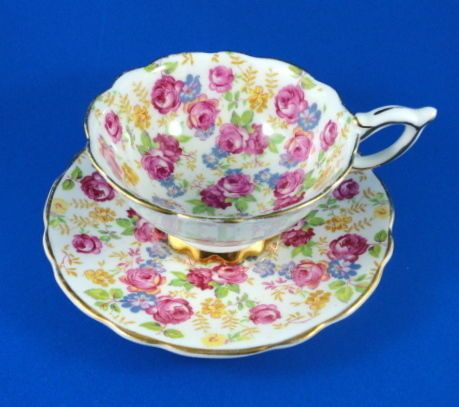 Pretty Chintz Royal Stafford June Roses Tea Cup and Saucer Set | eBay