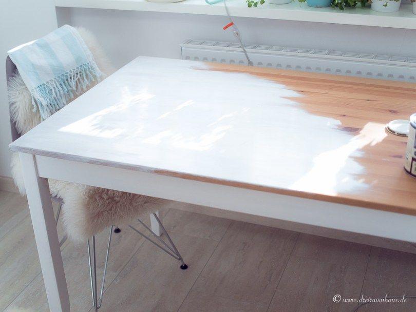 Tisch Streichen Ohne Schleifen Ein Diy Mit Farrow Ball Mobel Weiss Streichen Ikea Tisch Weiss Holztisch Weiss Streichen