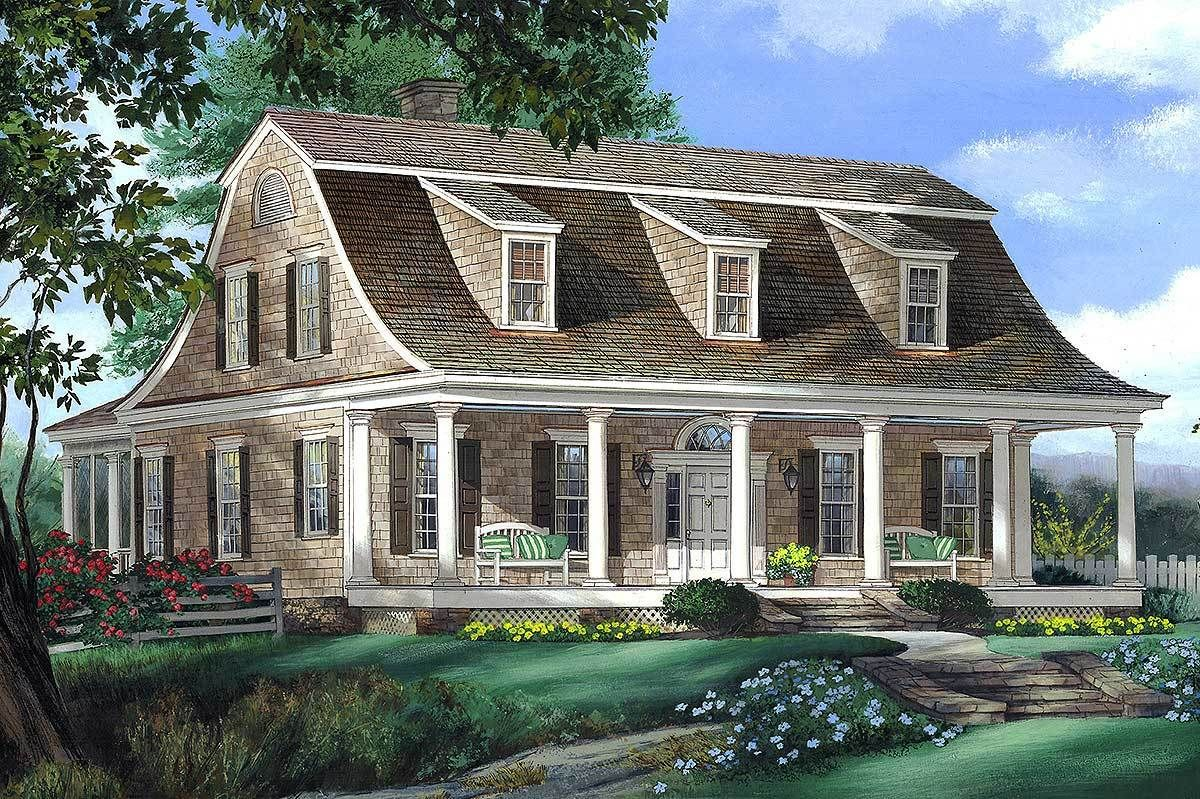 Plan 32629wp Gambrel House Plan With 2 Stairs Colonial House