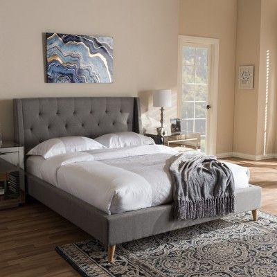 Adelaide Retro Modern Fabric Upholstered Platform Bed - Full - Light Gray - Baxton Studio