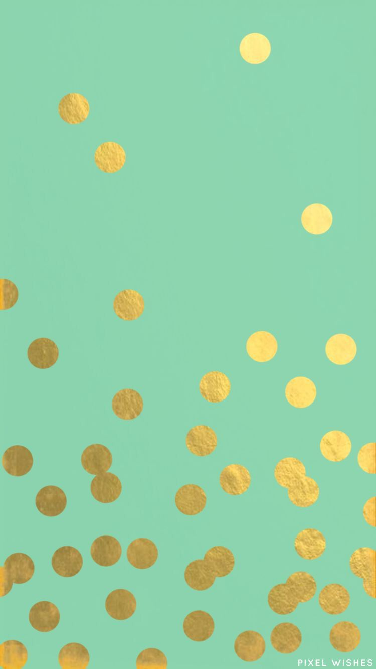 Iphone 6 wallpaper tumblr gold - A Mint And Gold Confetti Iphone 6 Wallpaper That I Made To Match My Kate Spade