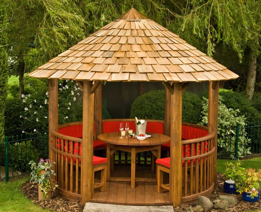 Modern circular wooden gazebos circular wooden gazebos for Garden design kits