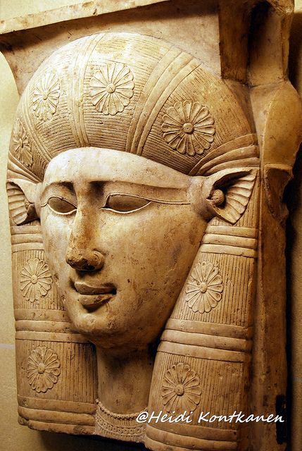 The face of the goddess Hathor, with cow ears. A fragment of a capital from a column. 3rd century BC, Ptolemaic. Louvre Museum.