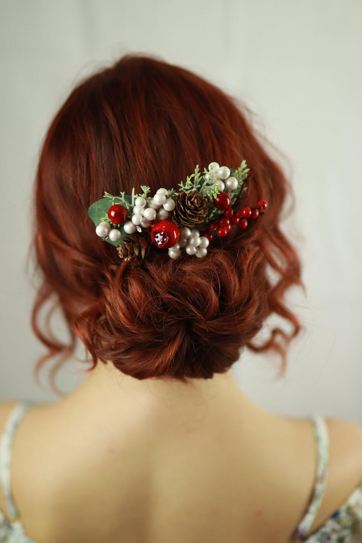 "Decorative Winter Hair Comb ""Celine"", Christmas hair piece"