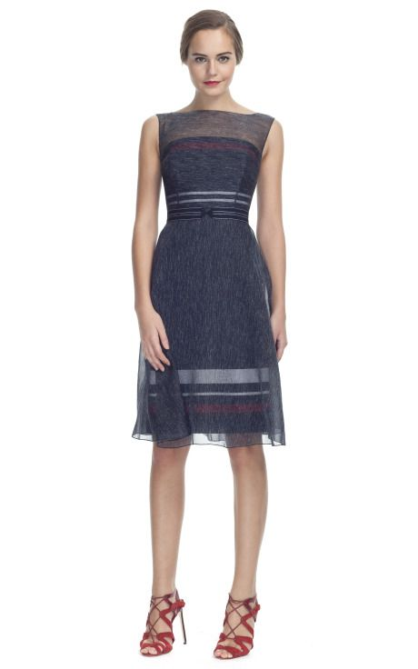 997f1b962ccf3 CAROLINA HERRERA Striped Organdy Sleeveless Overlay Dress