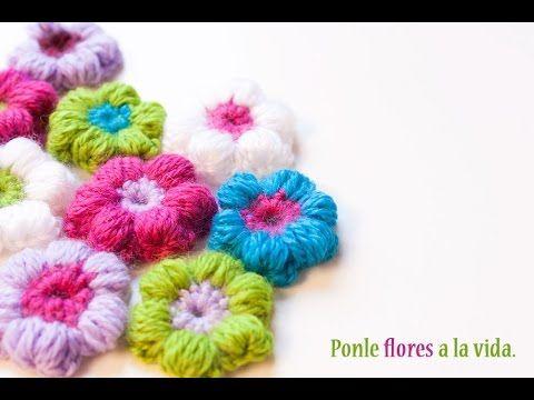 C mo hacer una flor puff de ganchillo crochet puff - Hacer flores de ganchillo ...