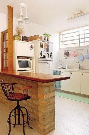 Bancada Da Cozinha Com Tijolo Aparente Com Imagens Cozinha De