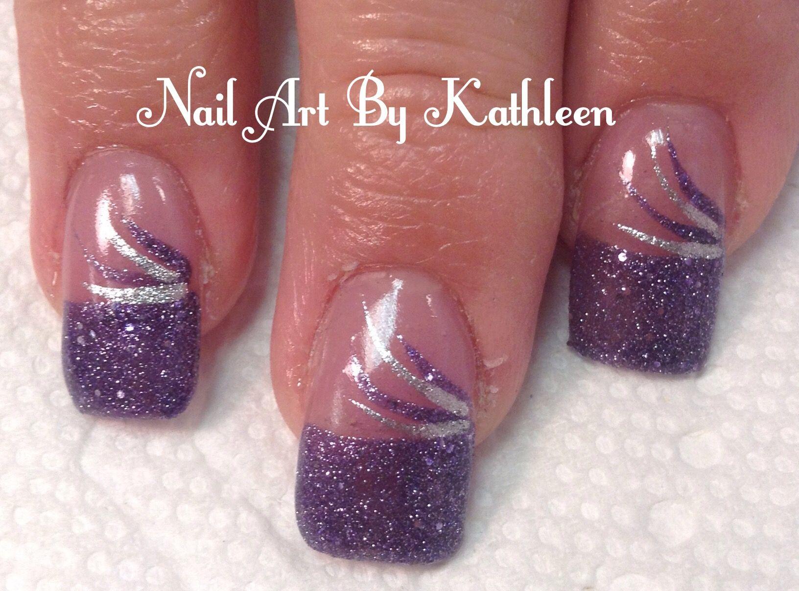 Purple Glitter French Tip Nails | Nail Art | Pinterest | Purple ...