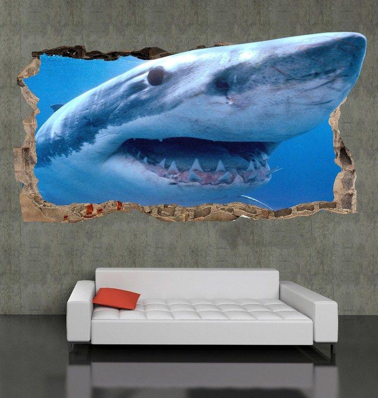 Startonight 3d Mural Wall Art Photo Decor Shark Unusual Wallpaper Mural Wall Art Photo Wall Art