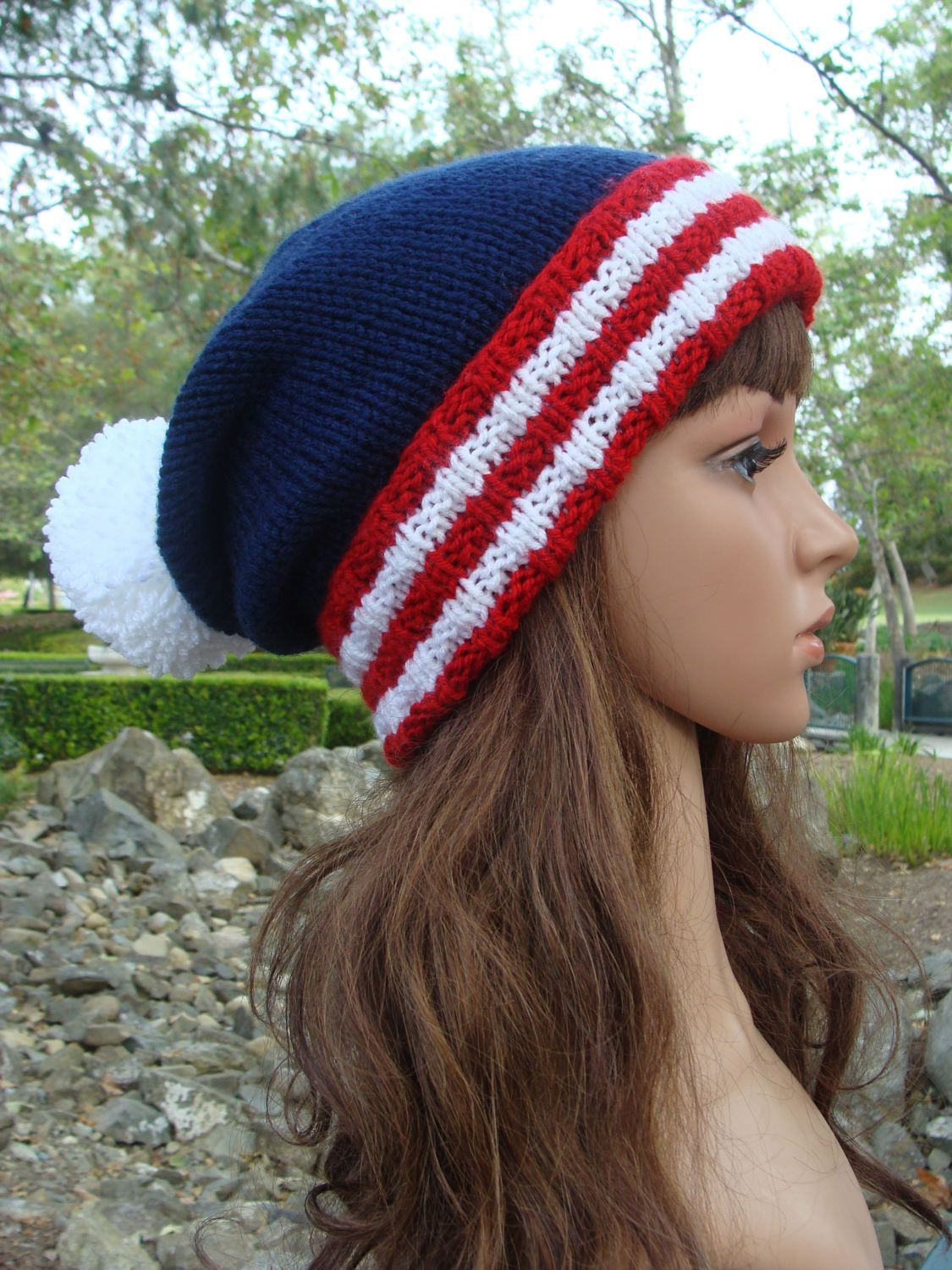 a377caf4582 4th of July Beanie- With Red and White Striped fold-up brim and Pom ...