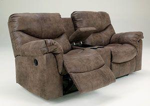 Astonishing Alzena Gunsmoke Double Reclining Loveseat W Console Gamerscity Chair Design For Home Gamerscityorg