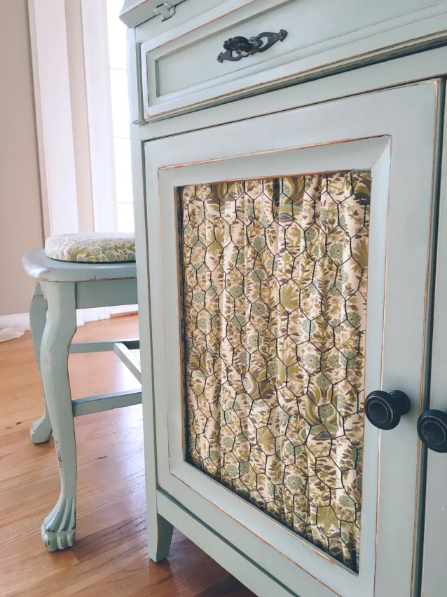 Chicken Wire Cabinet Door With Fabric Pinteres