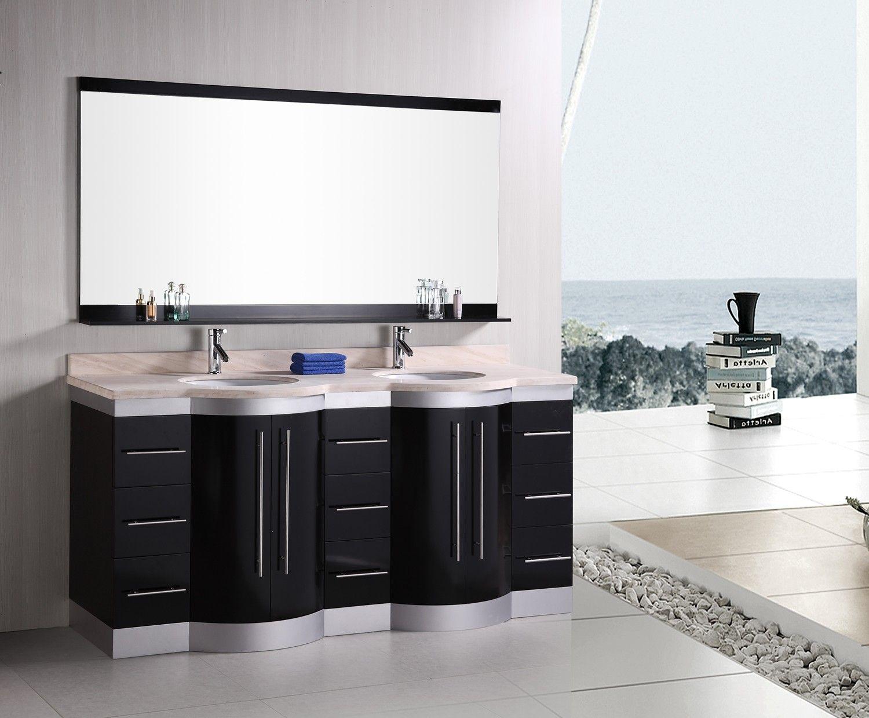Design Element DEC023-TTP Jasper 72 Double Sink Vanity Set W ...
