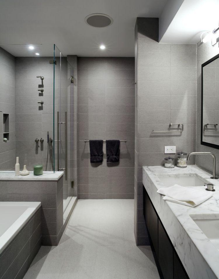 Badezimmer Fliesen 2015 Grau Nuancen Marmor Optik Waschtisch