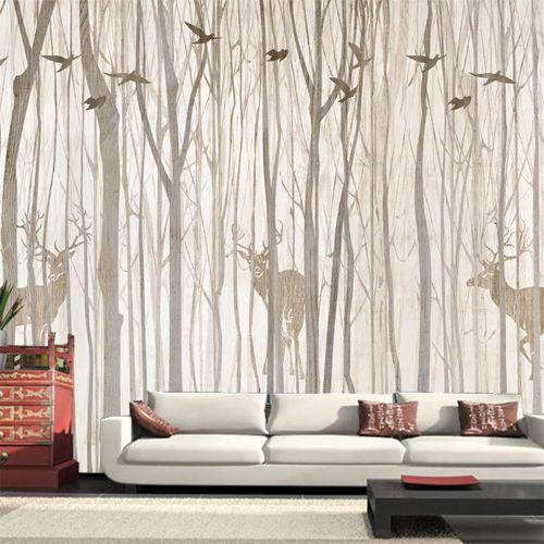 pas cher europe oiseau arbre murale papier peint 3d tanche salon tv mur de fond rustique. Black Bedroom Furniture Sets. Home Design Ideas