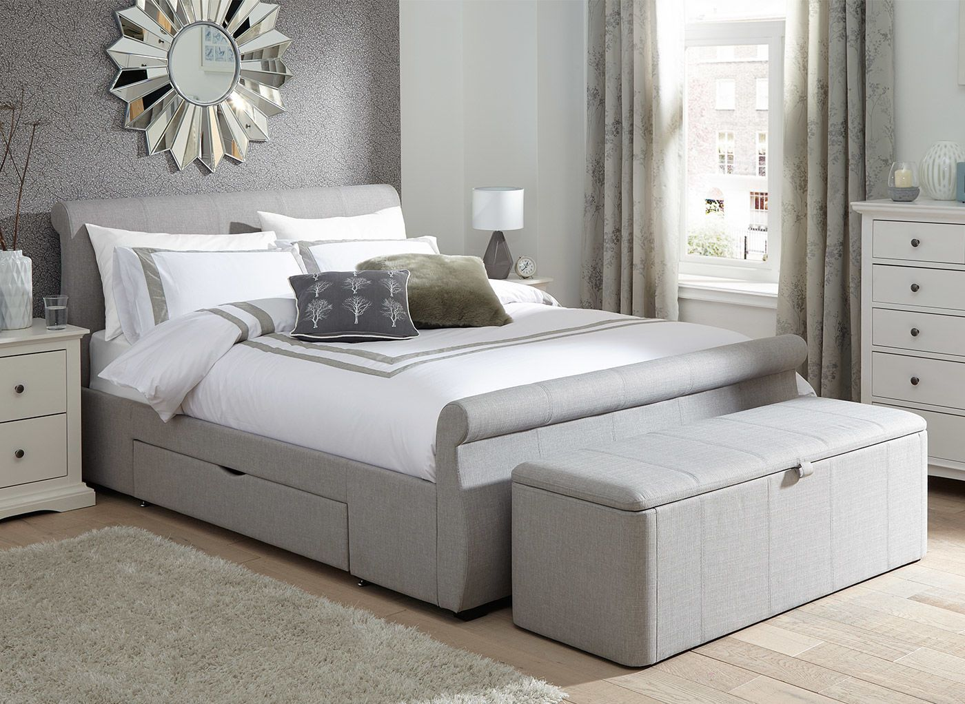 Lucia Upholstered Bed Frame Grey bed frame, Upholstered