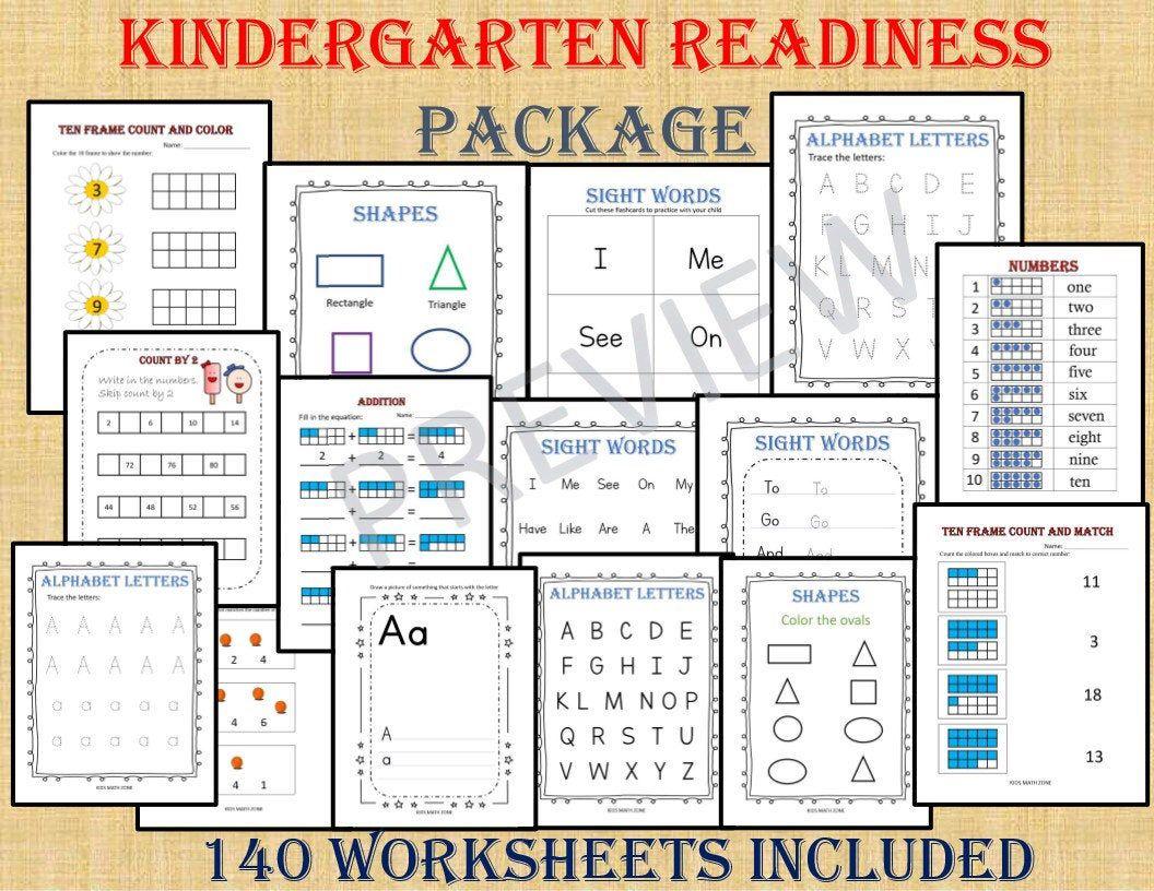 Kindergarten Workbook 140 Worksheets Instant Download Etsy Kindergarten Workbooks Kindergarten Readiness Kids Math Worksheets [ 816 x 1056 Pixel ]