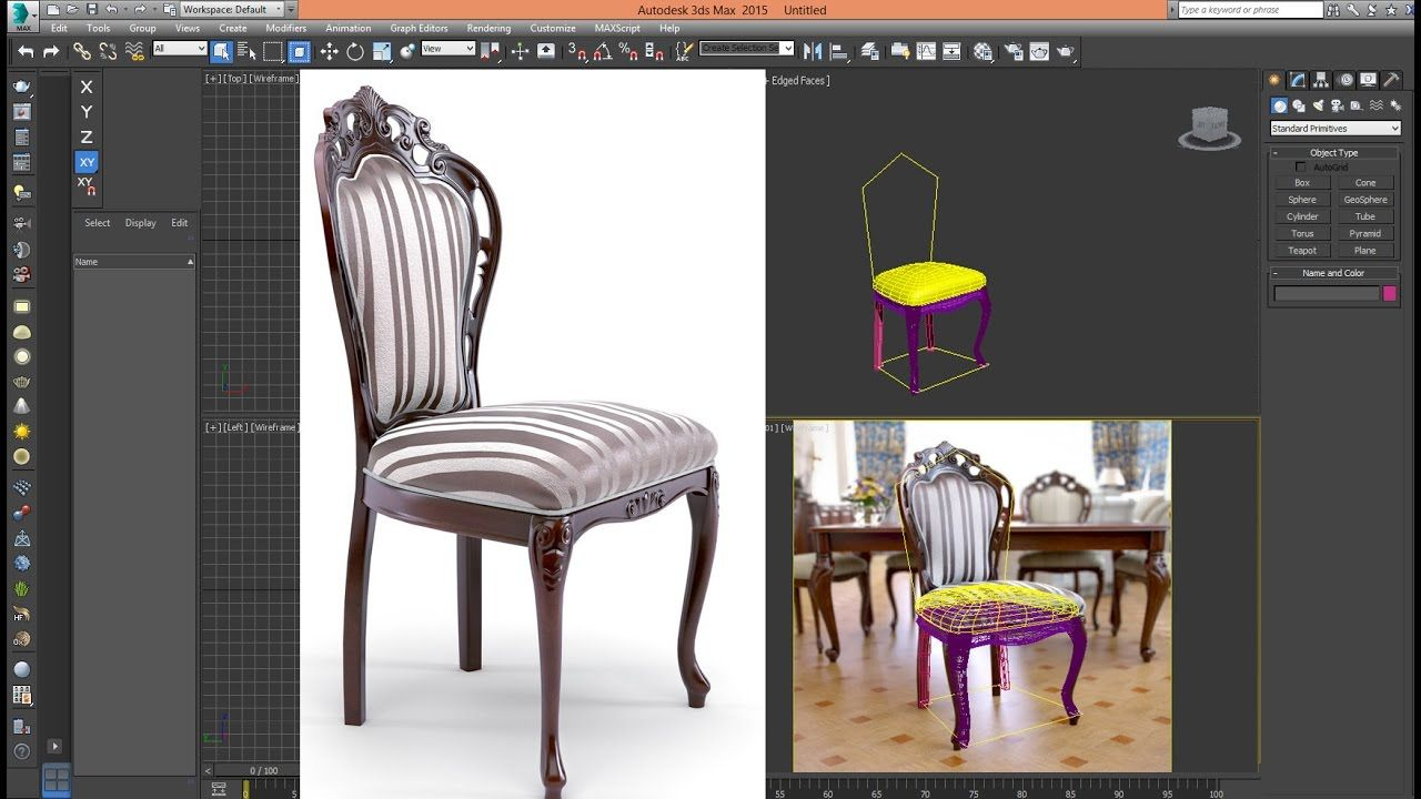 3ds Max Tutorial Model Chair Classic Advanced_Step 01