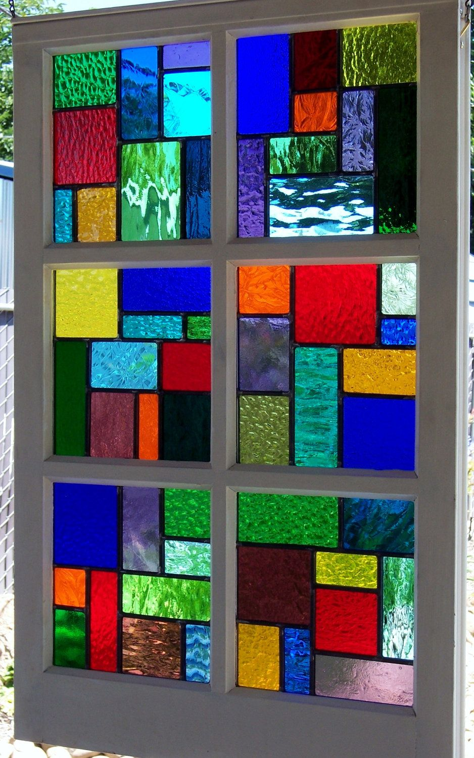 Large Multi Color Stained Glass Reclaimed Wood Window Multi Colored Stained Glass Stained Glass Art Faux Stained Glass