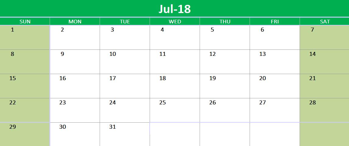 Google Template Calendar | July 2018 Google Spreadsheet Calendar 2018 Calendars Pinterest