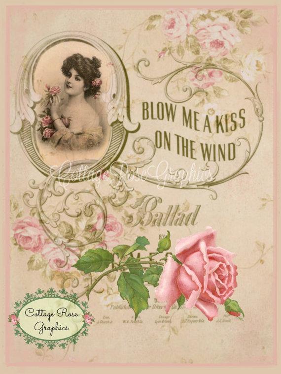 Vintage Romantic Blow me a Kiss roses digital download ...