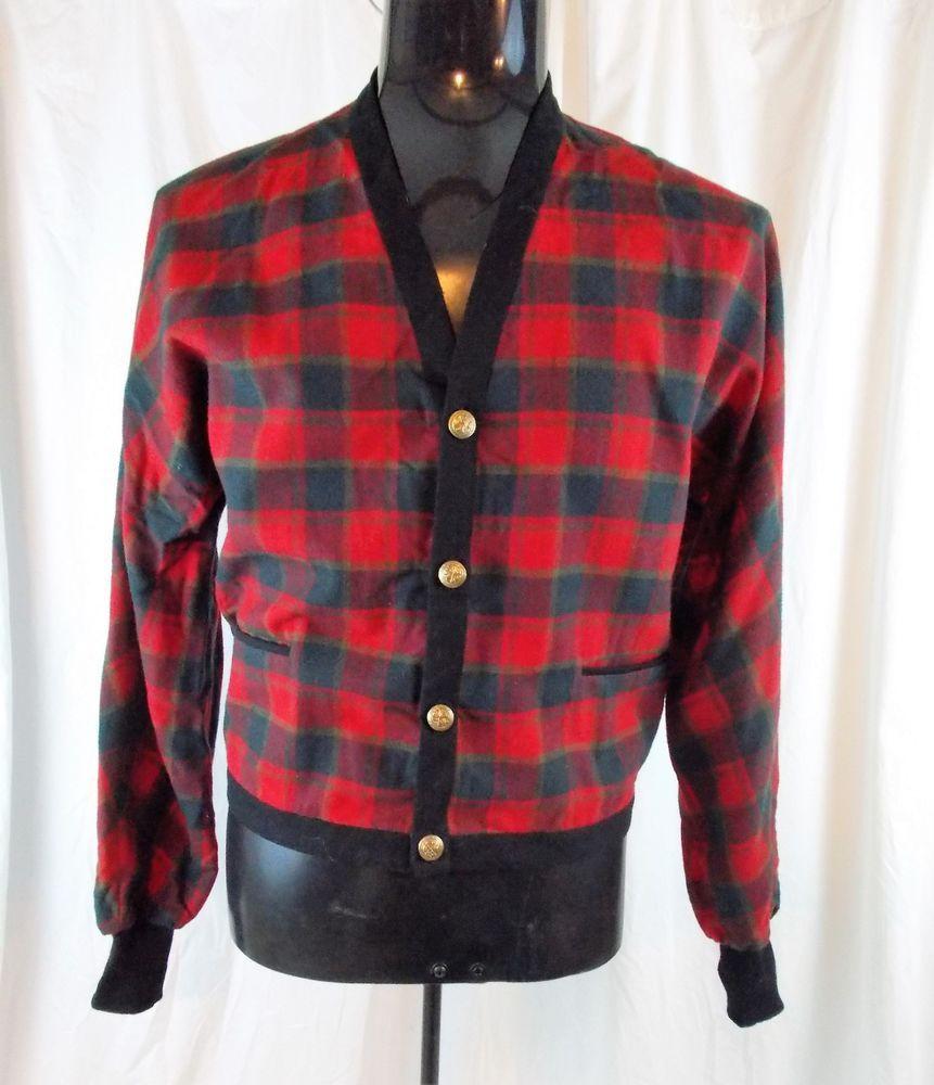 Vtg PENDLETON Wool Cardigan Sweater Smoking Jacket Plaid Grandpa ...