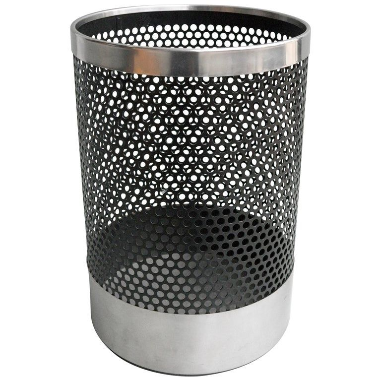 Trash Can by Velca Legnano, Milano, Italy, 1970s. Metal and stainless steel.