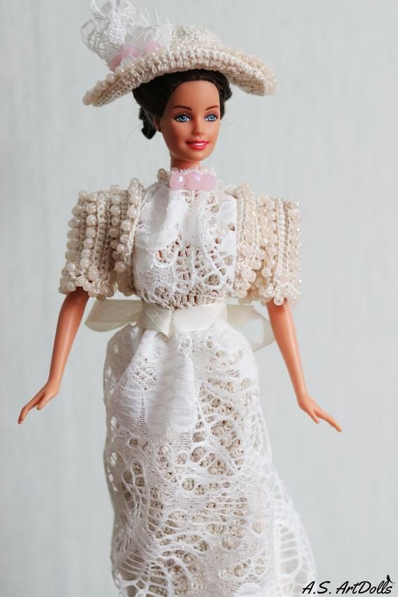 Crochet victorian doll dress with lace - Barbie clothes/historical dolls/barbie gown #historicaldollclothes