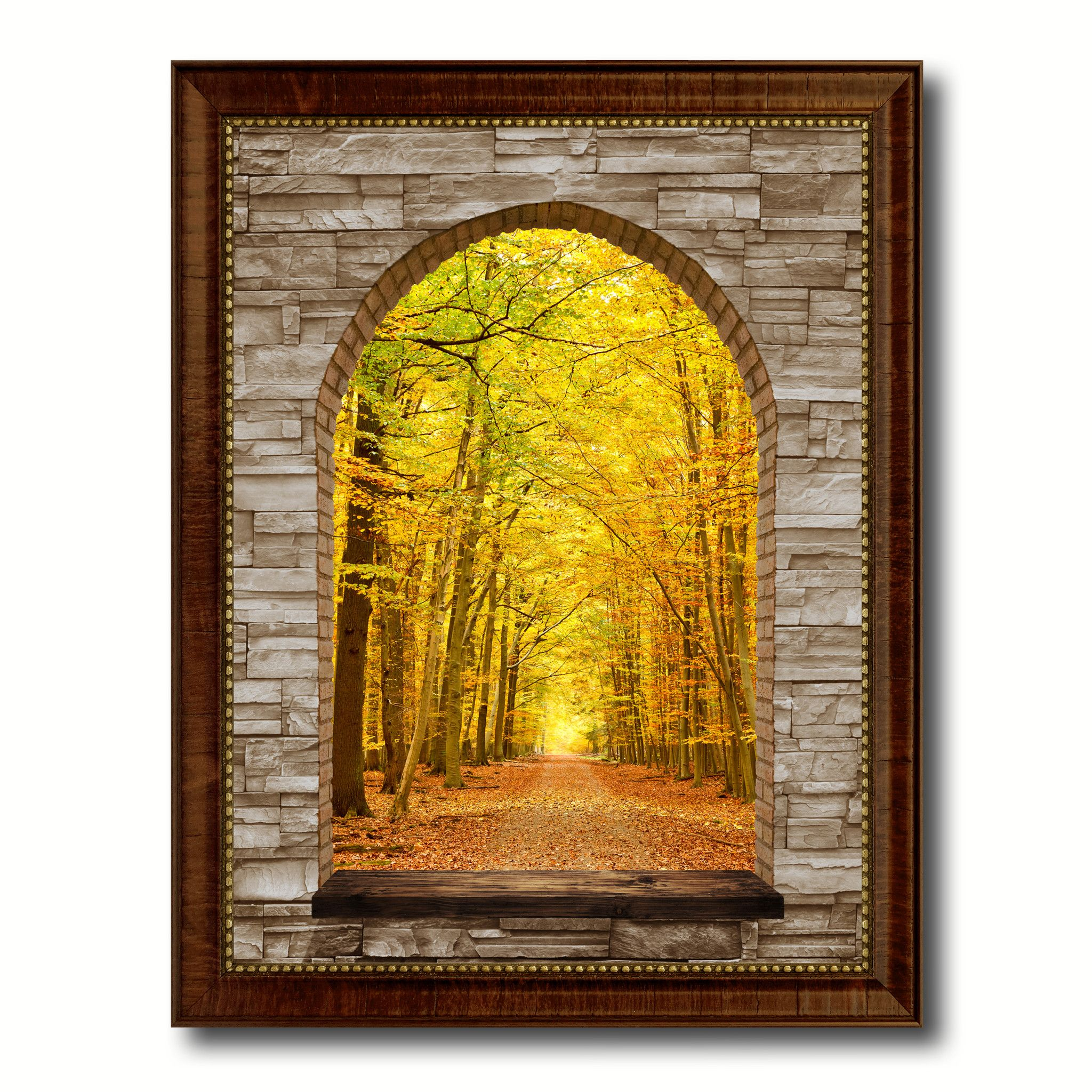 Pathway Autumn Park Picture 3D Arch Window Canvas Print Home Décor ...