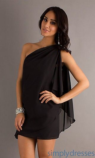 Short One Shoulder Black Dress by Sally Fashion $224 Cocktail Dresses