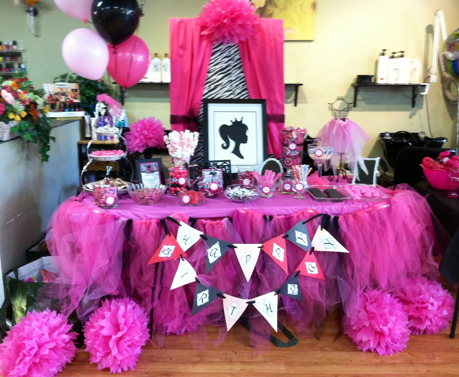 a candy buffet table i made for my daughters 6th birthday barbie