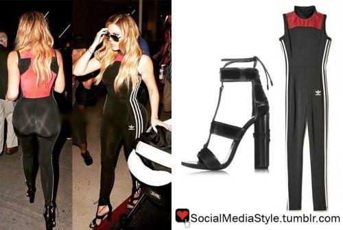 Buy Khloe Kardashian's Black, Red, and White Bodysuit and Black Sandals,  here!